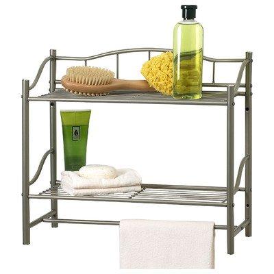 Bathroom Double Wall Shelf Organizer with Towel Bar Brushed Chrome Pearl Nickel