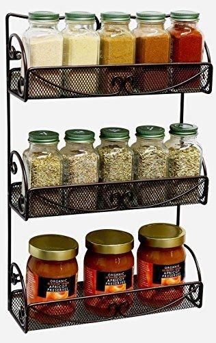 Generic YC-US2-160321-139 8&32221 Hangerar Rack Bro Rack Bronze NEW 3 Tier Wall Shelf Organizer Mounted Spice Jar Storage Hanger NEW 3 Tier