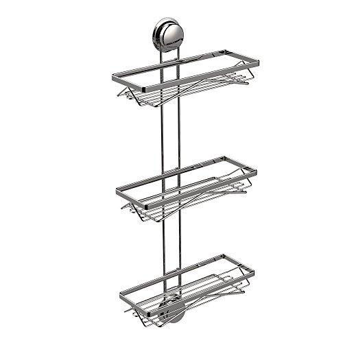 Grabath Bathroom 3 Shelf Suction Cup Wall Mounted Storage Shower Caddy Kitchen Organizer Storage Basket Adjustable