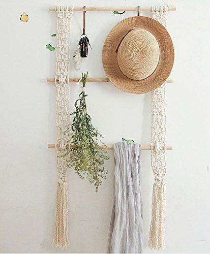 RISEON Bohemia Handmade Vintage Rustic Wood Macrame Floating Hanging Wall Display Shelf Organizer Decor Hanger Style A