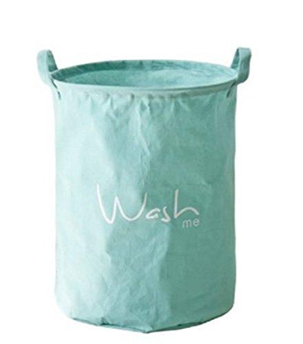 FHD Fabric Foldable Round Laundry Basket Hamper Closet Storage Bin Bag Wash me Blue