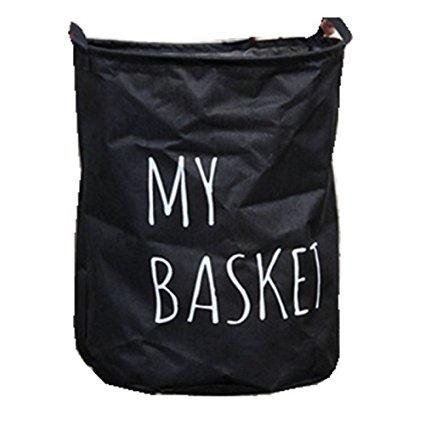 Fabric Foldable Round Laundry Basket Hamper Closet Storage Bin Bag