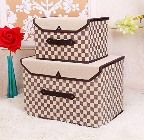 Fabric Storage BinCloset Storage BoxSimple and StylishGrid DesignBrownSet of 2
