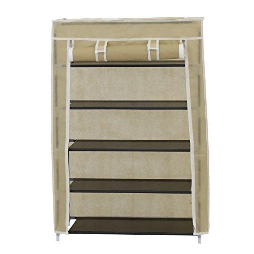 Kinbor 24 Portable 5 Tier Shoe Rack Shelf Storage Closet Organizer Cabinet wCover Beige