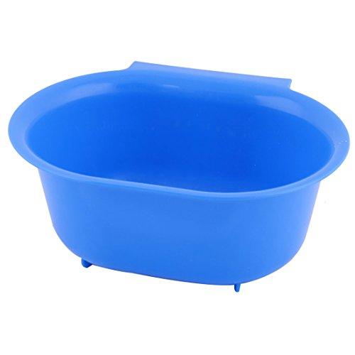 uxcell Plastic Family Hollow Out Design Food Fruit Vegetable Holder Plate Basket Blue