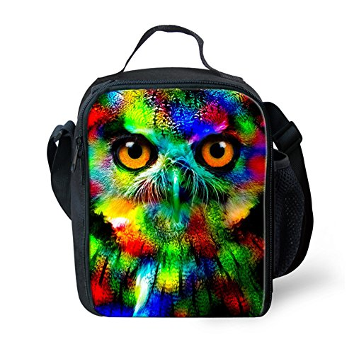 CHAQLIN Owl Face Thermal Insulated Lunch Bag Tote Kids Lunchbox with Shoulder Strap and Water Bottle
