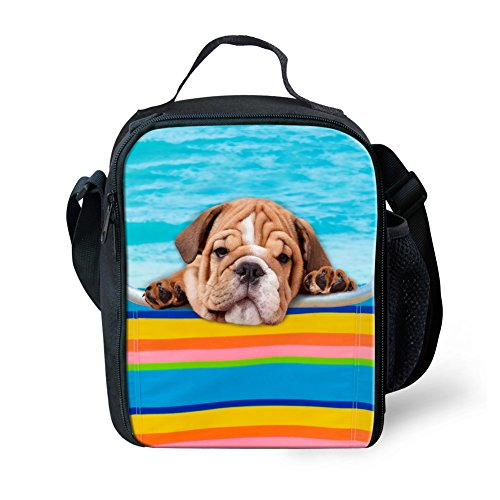 Frestree 3D Dog Print Durable Lunch Box with Strap Portable Kids Tote for Picnic School Work Office 12 Inch