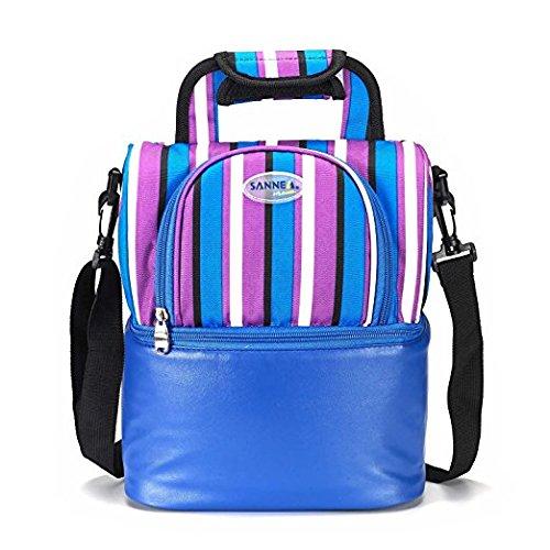 SANNE Double Decker Insulated Lunch Box Cooler Bag for KidsWomen and GirlsZipper Closurewith HandleAdjustable Shoulder Strap Deep Blue