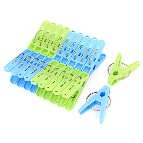 Blue Green Plastic Clothespins Clothes Towel Pegs Clamp Clips 20pcs