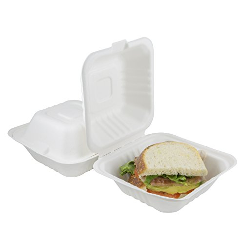 Houseables Takeout Containers To Go Box Restaurant Take Out Food Container 100 Pack White 6x6 Inch 100 Disposable Clamshell Biodegradable Boxes Microwavable Supplies Eco Friendly
