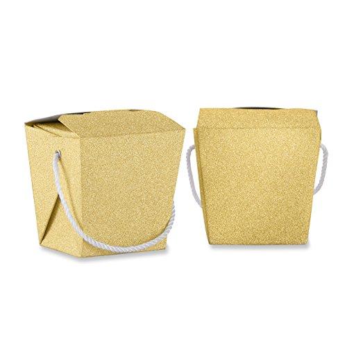Kate Aspen Glitter Takeout Box Set of 12 Favor Gold