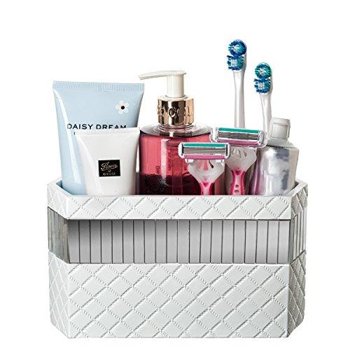 Bathroom Vanity Makeup Caddy Organizer White Bath Accessories Counter Storage Holder for Hair Dryer Hair Straightener Makeup Brushes and Toiletries - Porcelain Decorative 3 Slot Organizing Bin