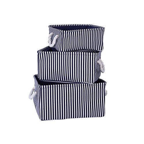 Home Shelf Baskets Clothes Organizer Cube organizing Bins with Handle Blue Stripe