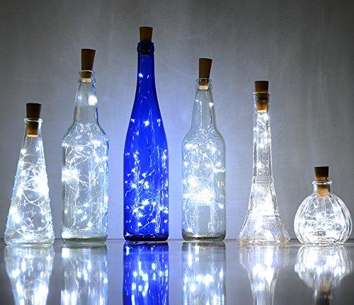 6 Pack 20-LEDS Spark I Wine Bottle Light AnSaw Cork Shape Battery Copper Wire String Lights for Bottle DIY Christmas Wedding and Party Décor – White