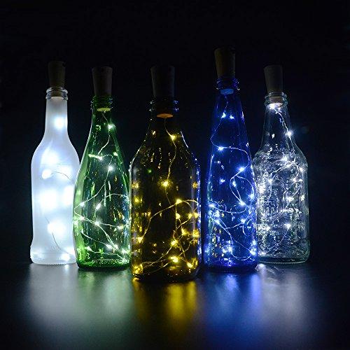 Cork Lights for Wine Bottles 6 Pack Bizoerade 30inch 75cm 15 LED Copper Wire Lights String Starry LED Lights for Bottle DIY Party Decor Christmas Halloween Wedding or Mood Lights - White
