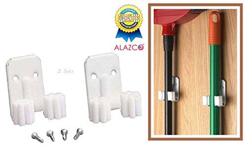 2 Sets - ALAZCO Broom Clips Mop Hanging Wall Hook Hanger Closet Garage Kitchen Organizer White Hooks - screws inlcuded
