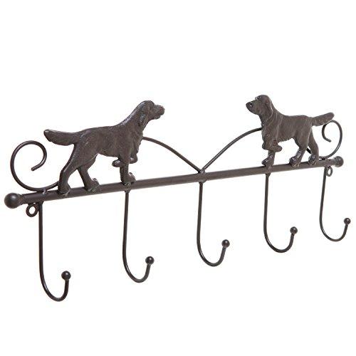 Decorative Scrollwork Dog Design Brown Cast Iron Wall Mounted 5 Hook Hanging Storage Organizer Rack