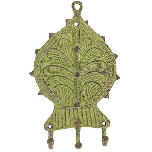 Brass Wall Hooks Hanger Coat Cloth Rack In Mint Green Vintage Floral Design Bth-81