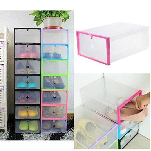 Bargain World Transparent Plastic Stackable Shoe Box Case Home Storage Container Office Organiser