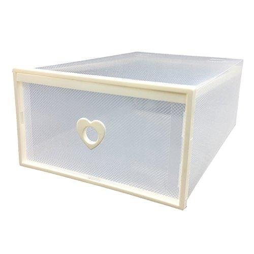 Smilun Closet Storage Organizer Transparent Plastic Stackable Shoe Box Case Home Storage Container Office Organiser White Heart6PCs