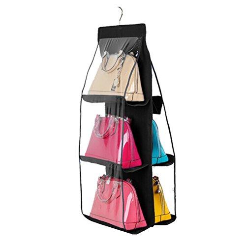 PIXNOR Hanging Closet Handbag Holder Organizer 6 Pocket Clear Hanging Purse Organizer