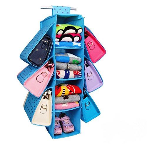 jenifer2015 Hanging Closet Handbag Organizer Purse Holder Underwear Rack Hanger Storage Organizer Blue