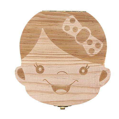 Tooth Box Organizer QuickGrowth baby Milk Teeth Save Wood Storage Box for Kids Boy Girl Princess