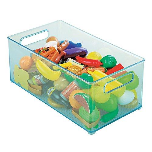 mDesign BabyKids Organizer Bin for Toys Games Blocks Stuffed Animals - 8 x 6 Aqua Blue