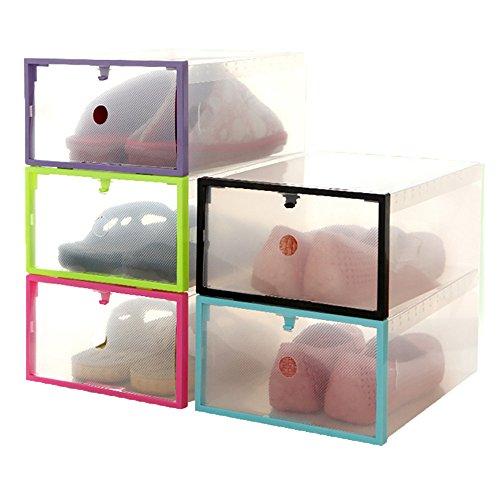 1PC Foldable Stackable Clear Plastic Drawer Case Organizer Box Holder Shoe Storage Random Color