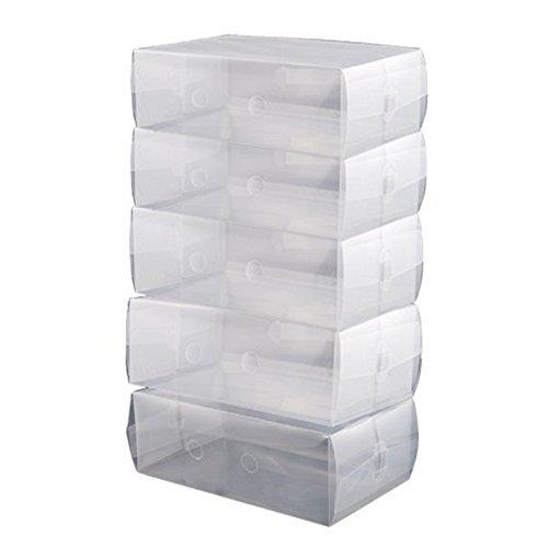 GreenSunTM Clear Shoe Boxes - 5 x Ladies 30cm x 18cm x 10cm Stackable Plastic Clear Shoe Boxes Storage Organiser 5 Clear Box