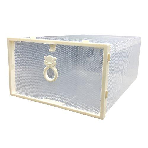 Smilun Shoes Organizer Shoe Box Storage Containers Foldable Clear Shoe Box Dust-Free Shoe Storage Boxes Clear White Bear4PCs