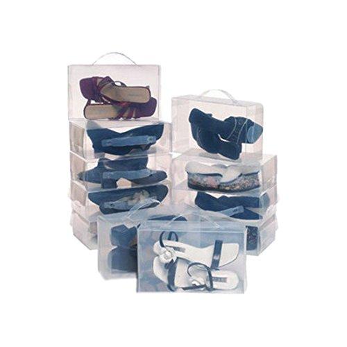 TOOGOOR 22 Ladies Mens Stackable Plastic Clear Shoe Box Boxes Storage Organiser Foldable- Transparent color