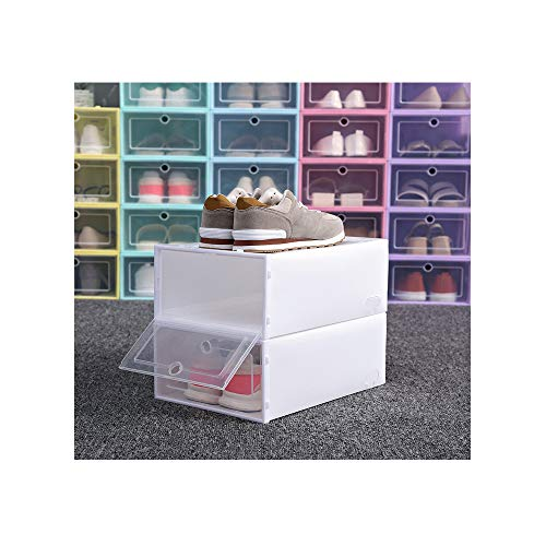 COOgjoei Shoe Organizer - Stackable Shoe Racks for Closets and entryway Shoe Storage CabinetCube Storage Bins for Mens Shoes Women Shoes Sneakers - Clear Plastic Shoe Boxes with lids White Small