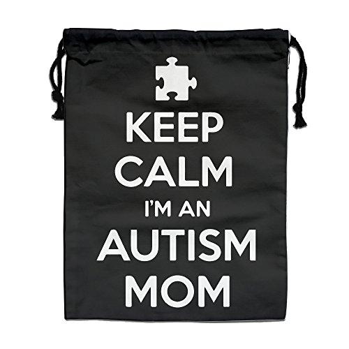 Keep Calm Im An Autism Mom Drawstring Tote Sack Lightweight Yoga Sport Storage Use