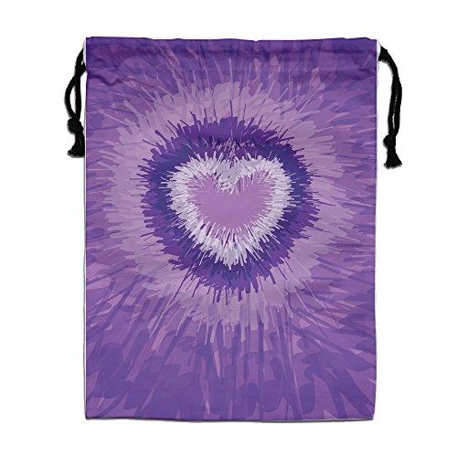 Rainbow Textile Purple Heart Drawstring Tote Sack Lightweight Yoga Sport Storage Use
