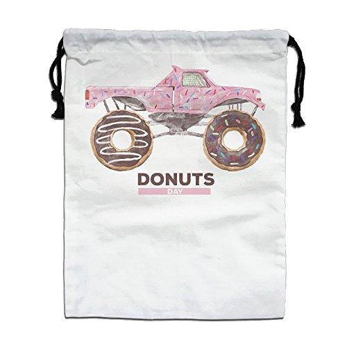 Reto National Donuts Day Cat Drawstring Tote Sack Lightweight Yoga Sport Storage Use