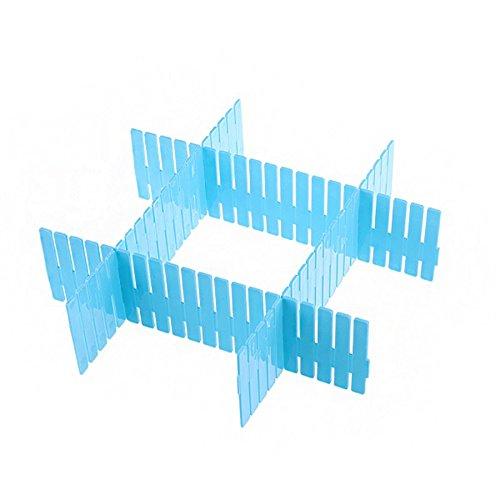 Bestag Adjustable 4 Pcspack DIY Plastic Grid Drawer Divider Household Necessities Storage Organizer Home Space-saving Tools 310x70mm Blue
