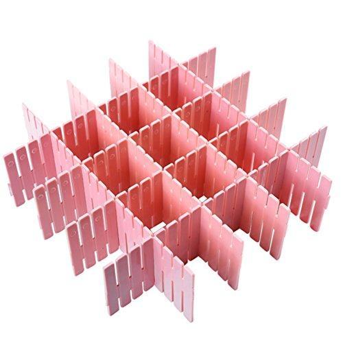 Cucumis 8 Pcs Plastic Grid Drawer Divider Tidy Home Storage Organizer Pink