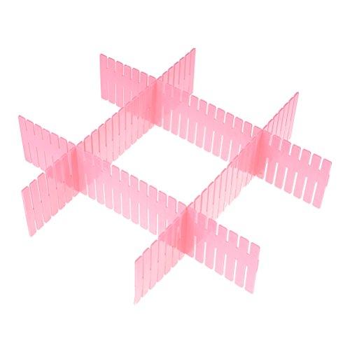 Ioffersuper 4 Pcs DIY Grid Drawer Divider Free CombinationPink