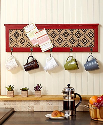 Multifunctional Wall Decor with Hooks  Red