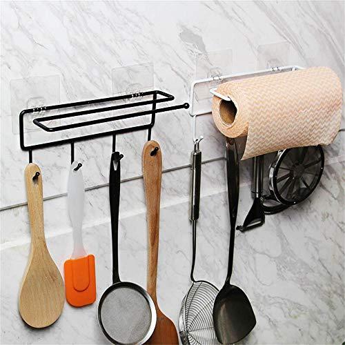 2-Pcs Keys Coat Towel Hats Hanging Hook Rail Towel Bar Paper Holder Storage Organizer Rack for Kitchen Bathroom Hallways Foyers Cabinet Laundry Rooms
