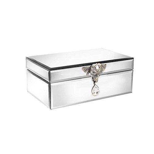 American Atelier Elephant Head Brooch Mirror Jewelry Box Silver