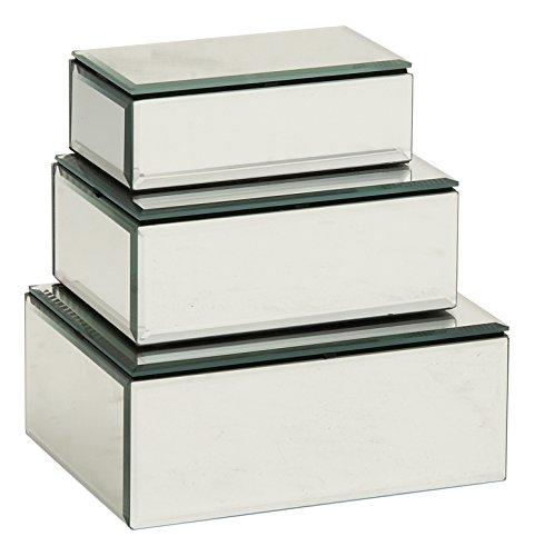 Deco 79 87256 Wood Mirror Jewelry Box Set of 3