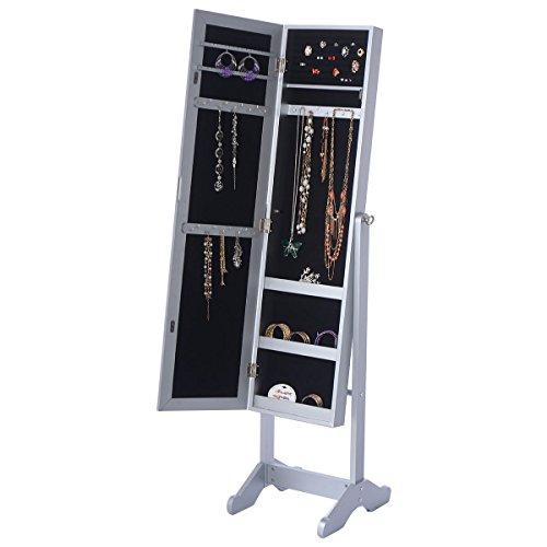 Wakrays New Mirrored Jewelry Cabinet Armoire Mirror Organizer Storage Box Ring w Stand