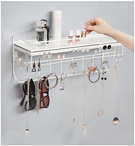 JackCubeDesign Wall Mounted Classic White Iron Designer Made Cosmetics Storage Shelf wNecklace Jewelry Organizer Shelf Earrings Holder - MK238B