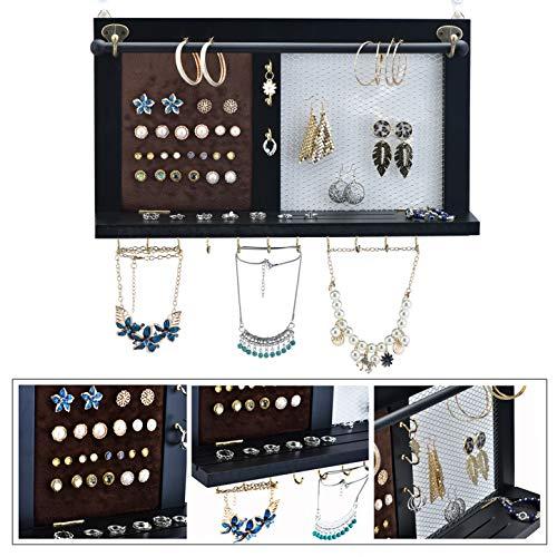 Kullavik Wall Mounted Jewelry Organizer Armoires Decor Display Shlef Storage for NecklacesBraceletsRing HolderEarings Wire MeshVelvet Earring DisplayInclHooks for Hanging JewelriesBlack