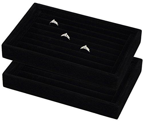 Stackable Small Velvet Rings Insert Jewelry Tray Showcase Cufflinks Earrings Storage Organizer Standard ring tray 7 slots velvet black small - 2