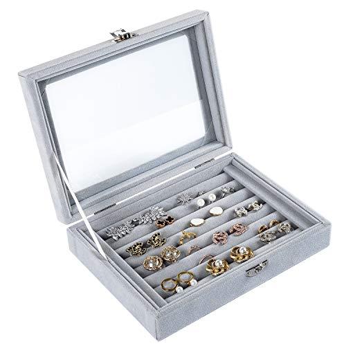 Yoelrsa Jewelry Tray with Glass Lid Velvet Ring Display Organizer Box Dustproof Earring Storage Holder with Lock Slots Grey