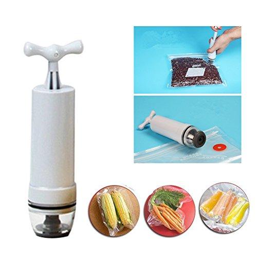 Fecihor Vacuum Sealer - Food Sealer Valve System with Hand Pump - 10 BPA Free Food Vacuum Sealed Storage Bags Keep Food Fresh and Tasty Longer Reusable Practical Easy To Use