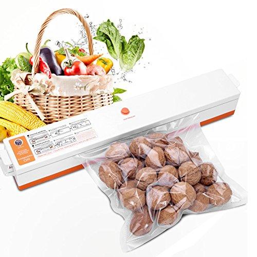 Automatic Vacuum Sealing Machine -Fresh Food Packaging Vacuum Sealing System Comes With 15 Vacuum Preservation Bags orange